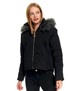 Krótka pikowana kurtka z kapturem i odpinanym futrem