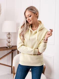 Bluza damska z kapturem 002TLR - jasnożółta
