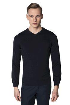 Granatowy sweter męski w serek Recman VITTEL