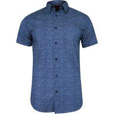Koszula męska niebieska Just yuppi w abstrakcyjnym wzorze z krótkimi rękawami jesienna
