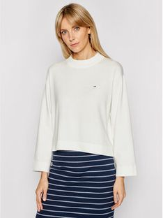 Tommy Jeans Sweter Essential DW0DW09802 Biały Relaxed Fit