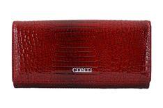 Klasyczny skórzany portfel damski CROCO - Czerwony