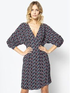 Manila Grace Sukienka codzienna A084VS Granatowy Skinny Fit
