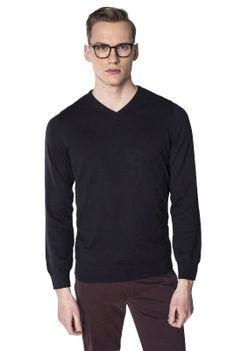 Czarny sweter męski w serek Recman VITTEL