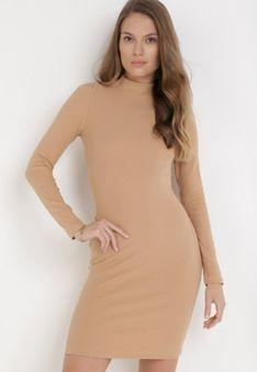 Ciemnobeżowa Sukienka Dzianinowa Thelxiesise