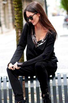 Czarny Dresowy Komplet Spodnie i Bluza  z Cekinami