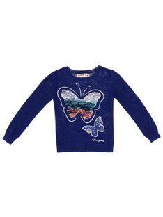 Niebieski sweter z motylkami Desigual FALUBERT