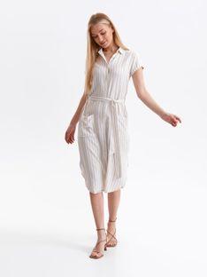 Koszulowa sukienka midi w pionowe paski, z wiązaniem w talii