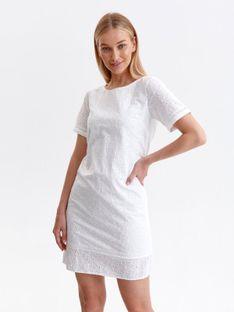 Biała sukienka o luźnym kroju z falbanką
