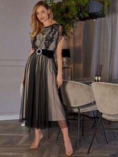 Tiulowa sukienka z koronkową górą L`AF SHER