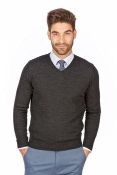 Sweter męski w szpic grafitowy - regular