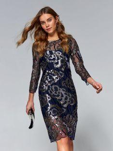 Wieczorowa sukienka  damska zdobiona cekinami