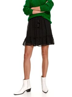 Mini spódnica z tkaniny plumeti z falbaną i wiązaniem