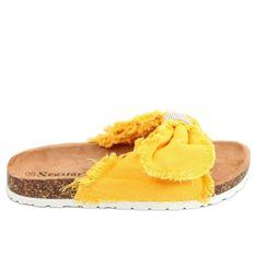 Klapki płócienne na korku żółte BG60P Yellow
