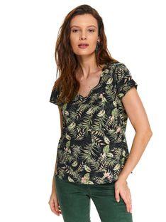 T-shirt z kieszonką z tropikalnym printem