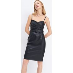 Mohito sukienka na wieczór czarna na ramiączkach z paskami mini z dekoltem karo