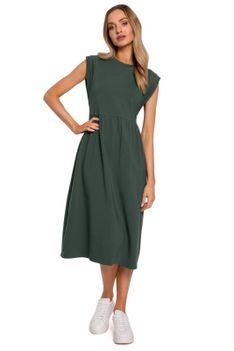 Bawełniana Midi Sukienka z Podwyższonym Stanem - Zielona