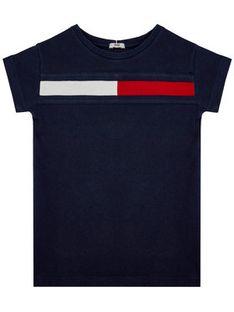 Tommy Hilfiger Sukienka codzienna Flag Jersey KG0KG05159 M Granatowy Regular Fit