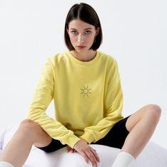 Cropp - Bluza oversize z nadrukiem - Żółty