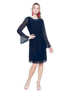 Granatowa sukienka z cekinami L`AF SA GREIS