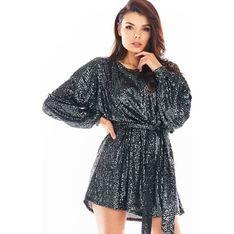 AWAMA sukienka w serek z długim rękawem czarna w abstrakcyjnym wzorze