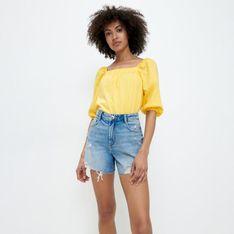 Mohito - Bluzka z bufiastymi rękawami - Żółty