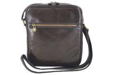 Męska torba CASUAL z regulowanym paskiem - Brązowa ciemna