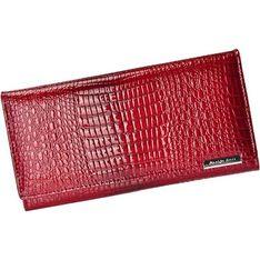 Czerwony portfel damski Jennifer Jones w zwierzęcy wzór