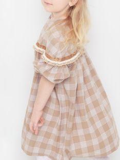 Brązowa sukienka dziecięca w kratkę Anima by Justyna Steczkowska
