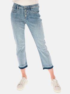 Jeansowe spodnie rybaczki z postrzępionymi nogawkami Red Button 2795.KATE.BLEACH