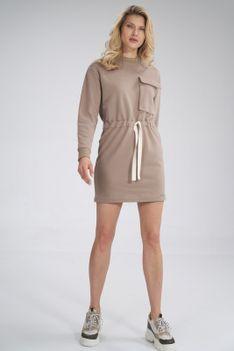 Sportowa Bawełniana Sukienka z Dużą Kieszenią - Beżowa