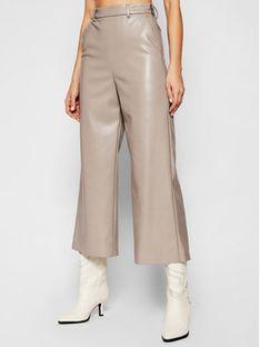 MSGM Spodnie skórzane 3041MDP06B 217101 Szary Regular Fit
