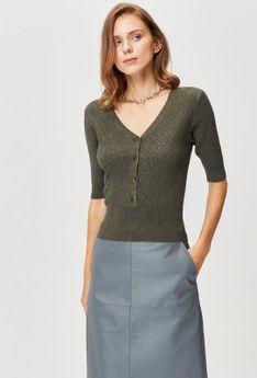 Sweter z krótkim rękawem i guzikami