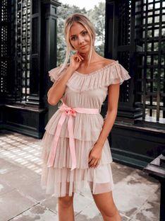 Sukienka damska 014DLR - beżowa