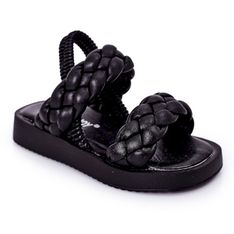 FR1 Dziecięce Sandały Ze Ściągaczem Czarne Cutie-Pie