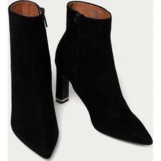 Czarne botki Calvin Klein eleganckie z zamszu jesienne z zamkiem