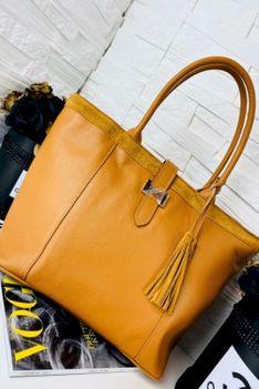 Torebka skórzana shopper bag Hermi camel