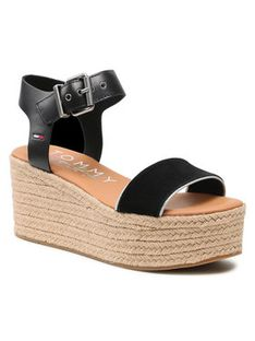 Tommy Jeans Espadryle Essential Flatform Sandal EN0EN01320 Czarny