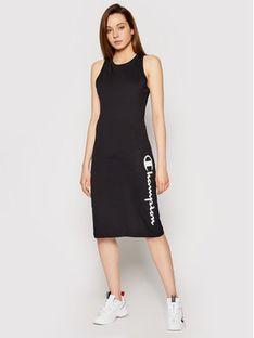 Champion Sukienka codzienna Vertical Script Logo Print 112610 Czarny Regular Fit