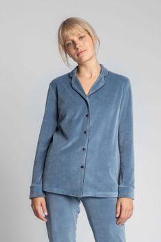 Welurowa Koszula od Piżamy - Niebieska
