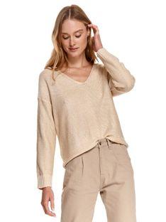 Sweter długi rękaw damski   luźny, pudełkowy