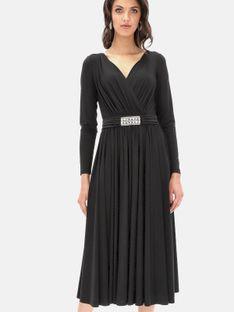 Elegancka czarna sukienka z ozdobną klamrą L`AF CINTY