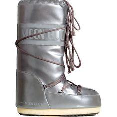 Śniegowce damskie Moon Boot na płaskiej podeszwie wiązane z tworzywa sztucznego casualowe
