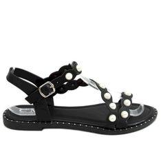 Sandałki z perełkami czarne 55-55 Black