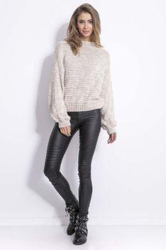 Beżowy Stylowy Sweter z Półgolfem