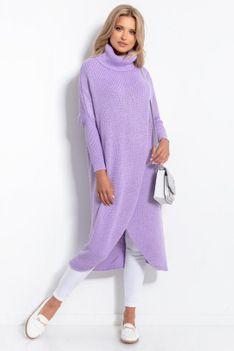 Długi Kopertowy Sweter z Golfem - Fioletowy