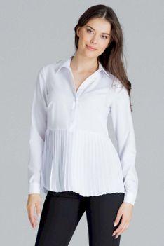 Biała Koszulowa Bluzka z Plisowanym Dołem