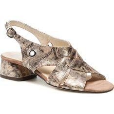 Sandały damskie złote Nessi z tworzywa sztucznego na lato