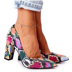 Skórzane Czółenka Z Wężowym Wzorem Lewski Shoes 2453 Kolorowe wielokolorowe