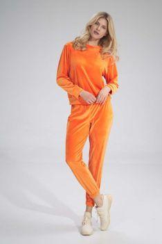 Dresowe Spodnie Welurowe na Gumie - Pomarańczowe